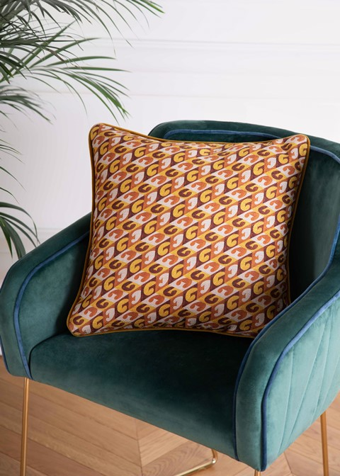 Monogram cushion mustard